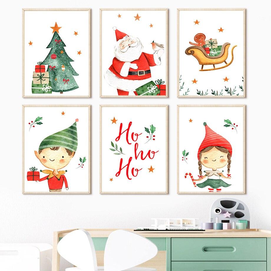 Санта-Клаус Рождественский подарок дерево мальчик девочка детская настенная Картина на холсте скандинавские постеры и принты настенные ка...