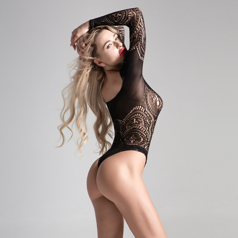 Conjunto de Sujetador de encaje transparente para Mujer, Ropa Interior Sexy con Lima abierta, uniforme de una pieza, lencería