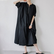 2021 Summer New Solid Color Casual Simplicity Japanese Style Women's Dress Round Neck Puff Sleeve Ko
