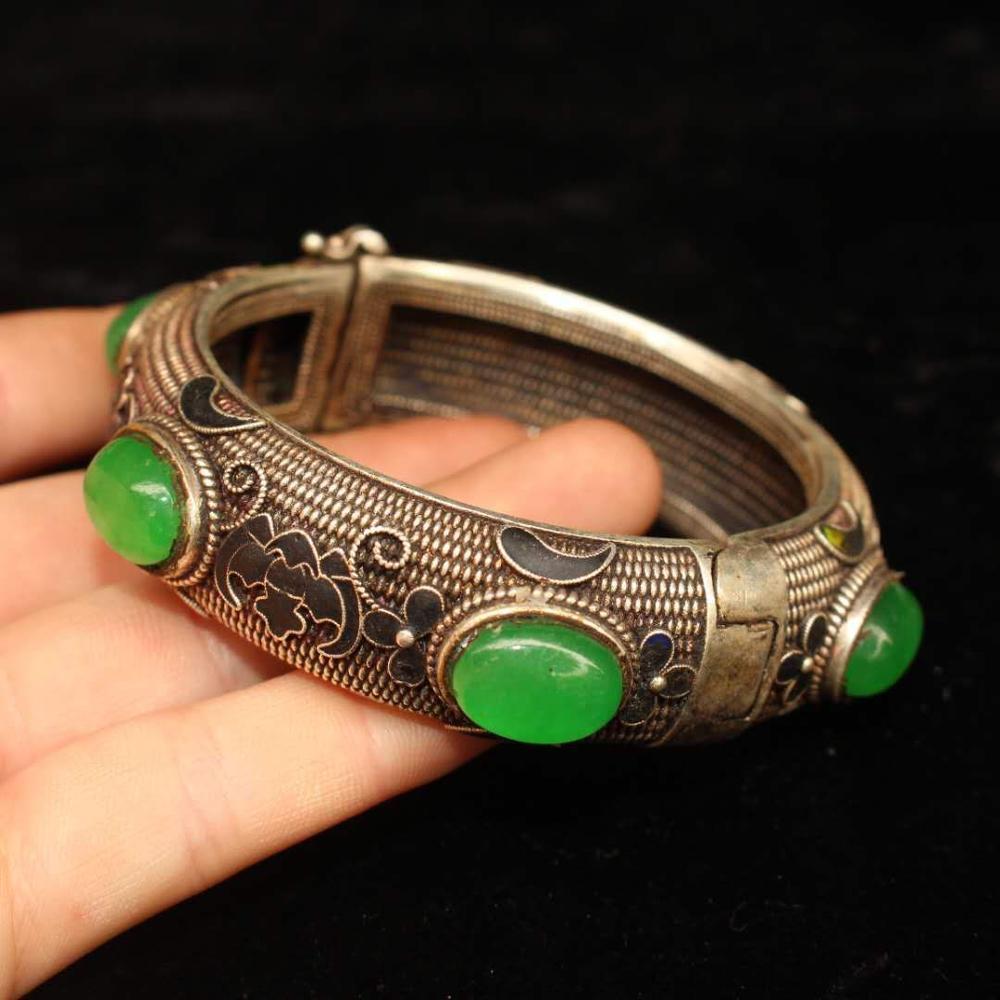 Tibet e Nepal Incrustada com Pulseira de Jade de Pedra Antigo Tibetano Prata Verde