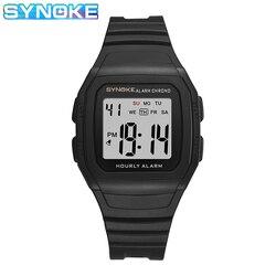 Synoke simples led display digital relógio masculino resistente à água metro relógios de pulso dos homens cinta do plutônio despertador hora em hora