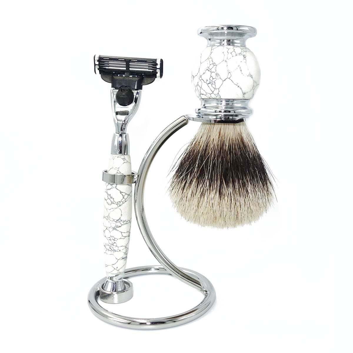 wlong puro texugo escova de cabelo conjunto para homens molhado barbear com natural
