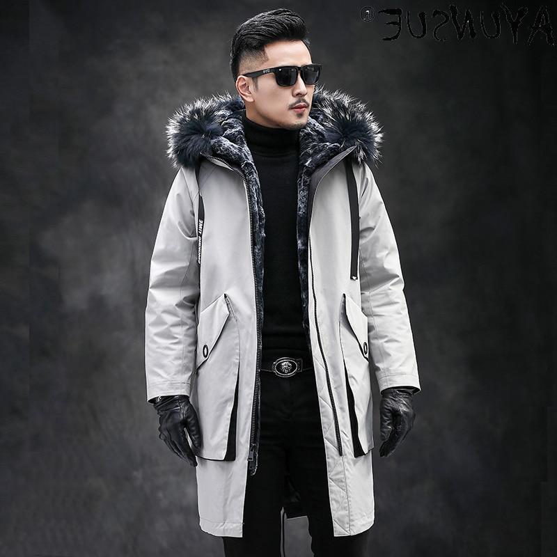 Men's Clothing 2021 Winter Jacket Men Hooded Mens Clothes Thick Coat Male Real Rabbit Fur Parkas Rop