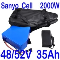 ebike battery 48v 30ah 35ah 52v 30ah 35ah triangle bicycle lithium battery sanyo cell for 2000w 1500w 1000w frontmidhub motor
