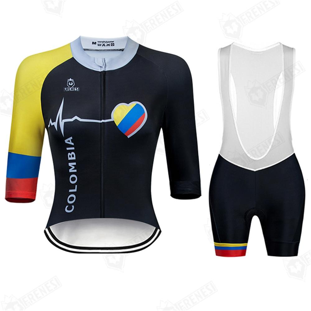 Frenesi Women Sport Riding Jersey Summer Bicycle Maillot Ciclismo Ropa Brief Sleeve Shirts Bib Shorts Sets Mtb Cycles Kit
