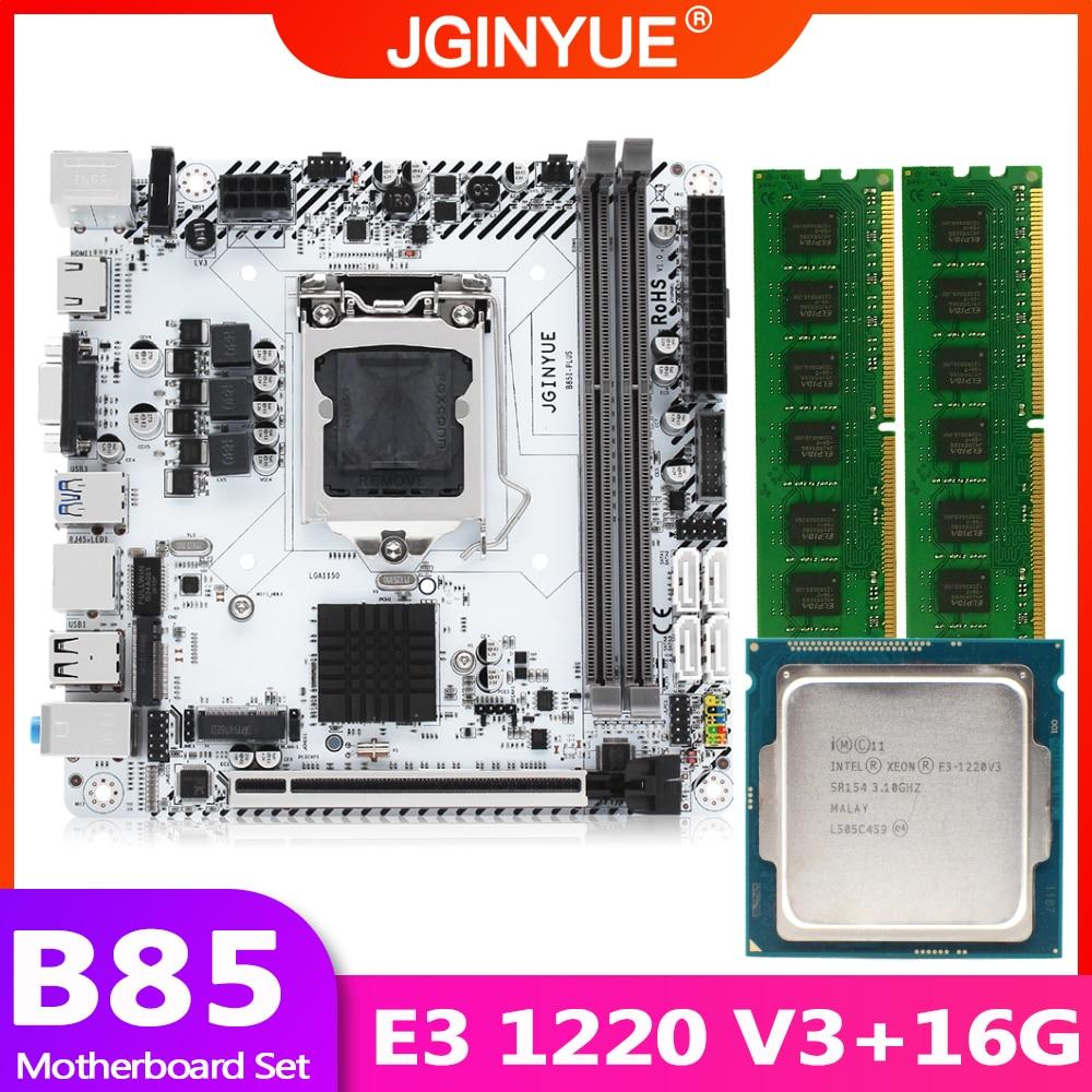 JGINYUE B85 اللوحة LGA 1150 مجموعة عدة مع Xeon E3 1220 V3 المعالج DDR3 16 جيجابايت 2*8 جرام ذاكرة وصول عشوائي مكتبية ذاكرة الكمبيوتر Mini-ITX B85I-PLUS