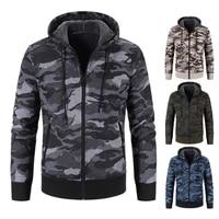 dropshippingwinter male coat hooded camouflage warm cardigan zipper jacket for men