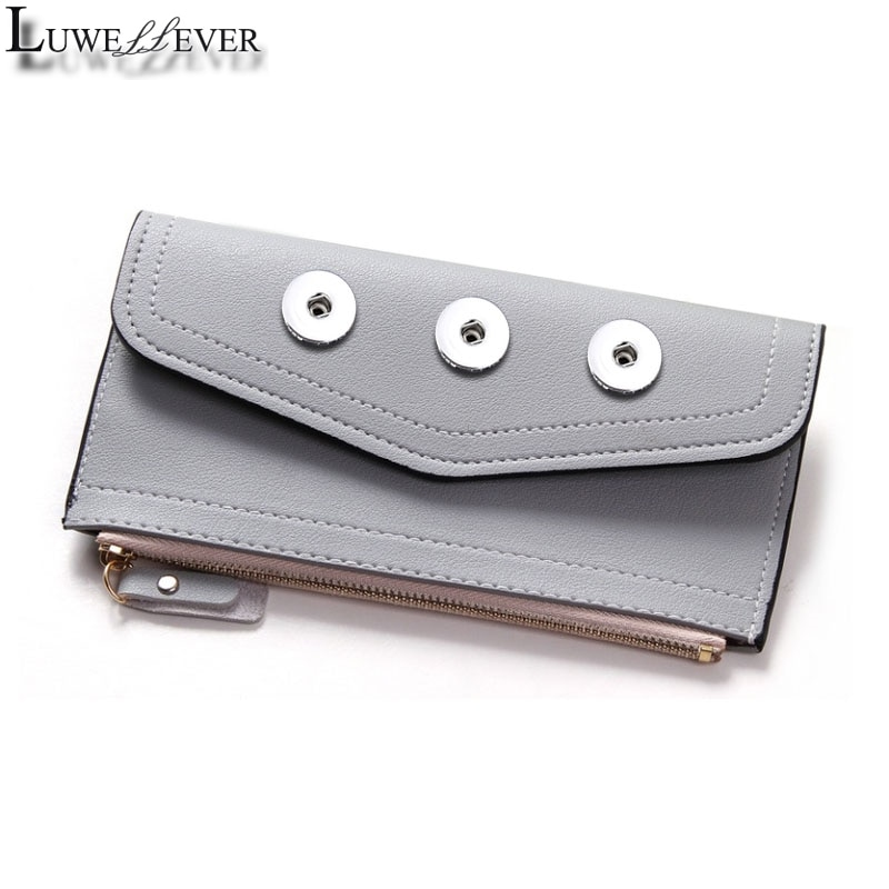 Fashion Simple Style 006 Bag 18mm Snap Button Purse Pu Leather Wallet Bags Charms Jewelry For Women Gift 19cm*10cm *1cm