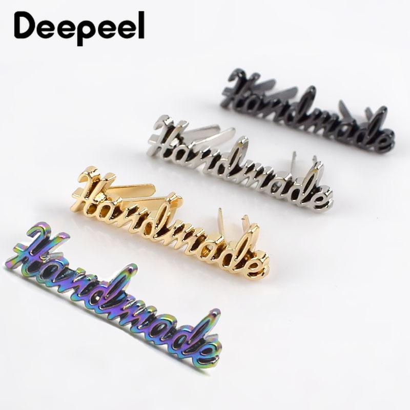 10/30/50/100pcs Rectangle 10x35mm Handmade Metal Bag Label Handcraft Decorative Tags for Purse DIY H