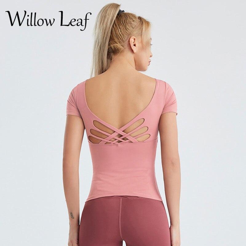 Женские спортивные топы для фитнеса с ивовыми листьями, 2021, женские спортивные облегающие быстросохнущие майки с коротким рукавом для йоги,...