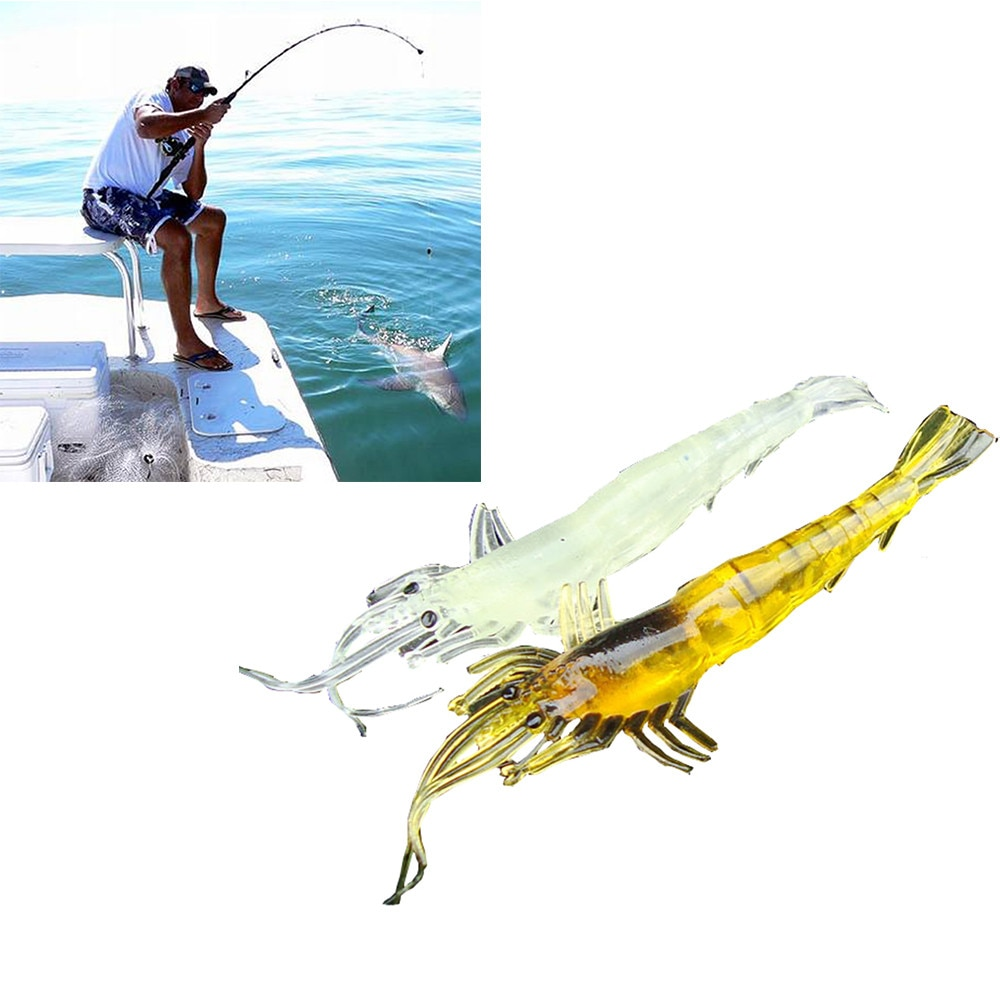 Lote de 5 uds de señuelos de gamba blanda, cebo de Señuelos de pesca de lubina de agua salada, nuevo Señuelos de pesca con mosca de movimiento único de 9cm y 45g, 2020