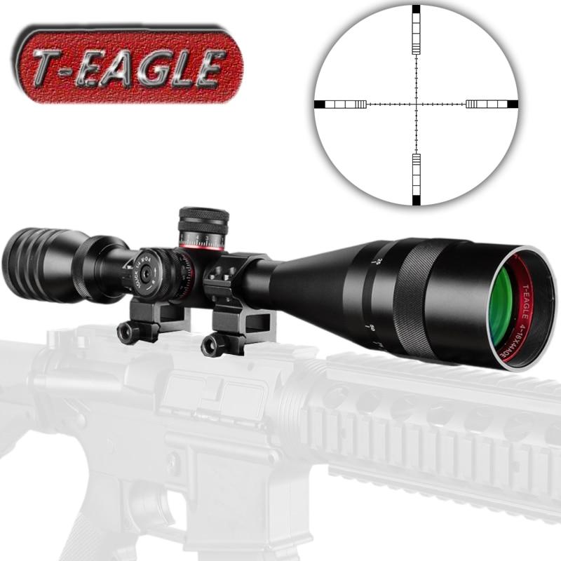 T-EAGLE 4-16X44 AOE Hunting Riflescopes 1/2 Mil Dot Reticle Red Green Illuminated Turrets Lock Reset Full Size Rifle Scope