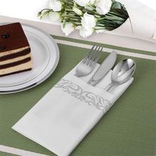 Serviettes jetables de luxe invités fête de mariage petite serviette Durable décoratif salle de bain serviettes à main or argent blanc tissu 100 pièces