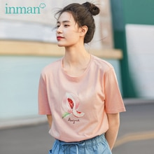 INMAN 2020 été nouveauté littéraire pur et frais pur coton fruits imprimé ample mince manches courtes T-shirt