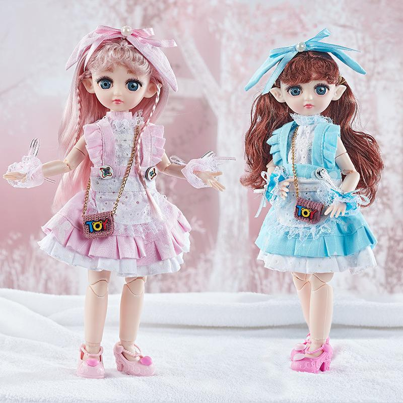Iluminación musical muñeca de elfo traje de boda de 30cm vestido de princesa chica 3d para regalos de cumpleaños de juguetes para el hogar
