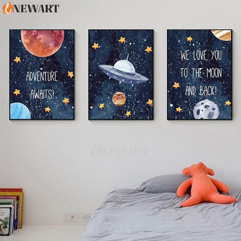 Pintura de pared para decoración de habitación infantil, póster de espacio, te queremos a la luna y la espalda, foto decorativa, lienzo artístico para habitación de niños