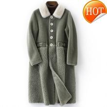 Réel hiver veste manteau de fourrure femmes vêtements 2020 coréen Long élégant réel laine fourrure vestes Kurtki Damskie Zimowe B18F28878 KJ3435