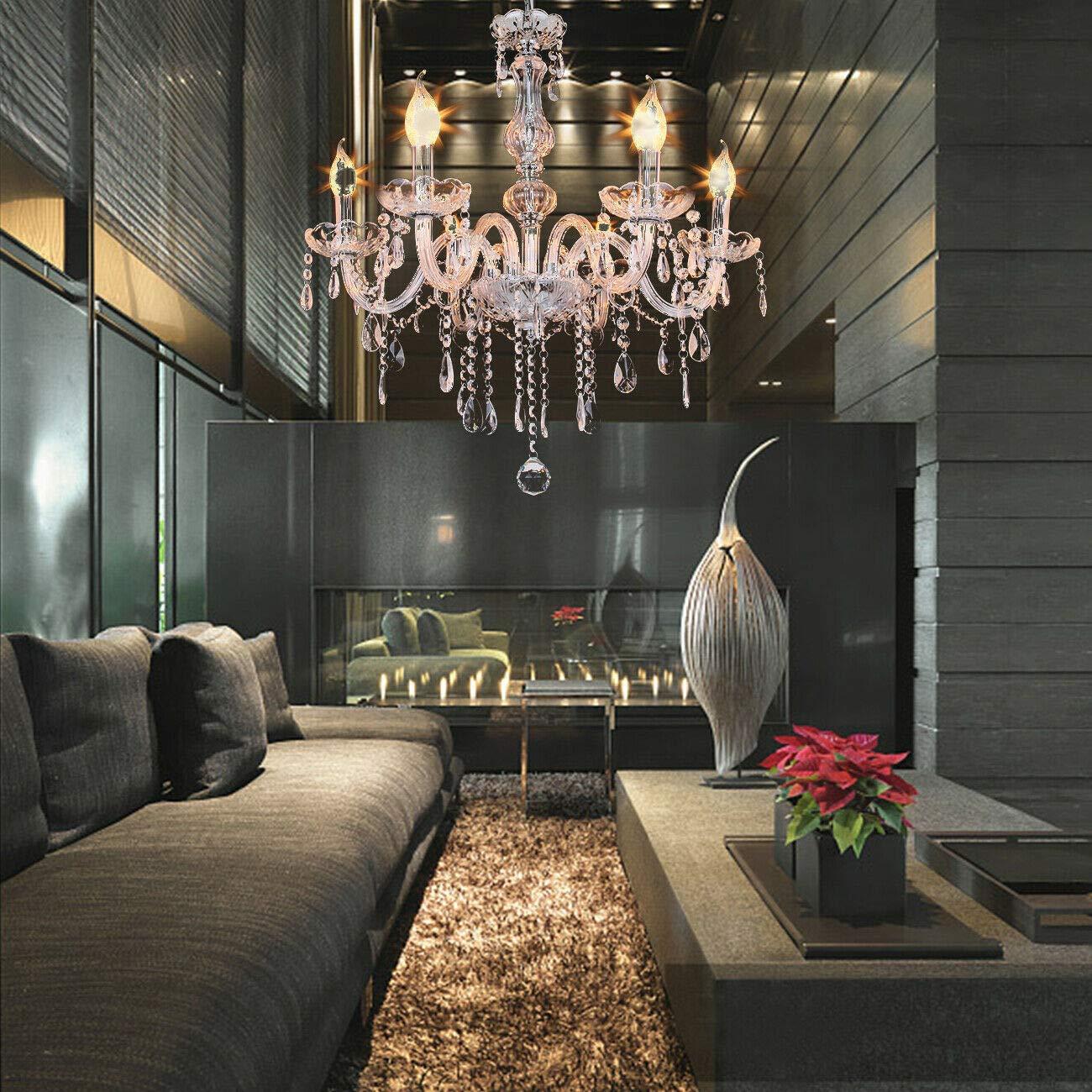 Honhill 6 braço lustre de cristal k9 luz teto vidro e14 corredor varanda lâmpada para sala estar quarto corredor entrada 220 v