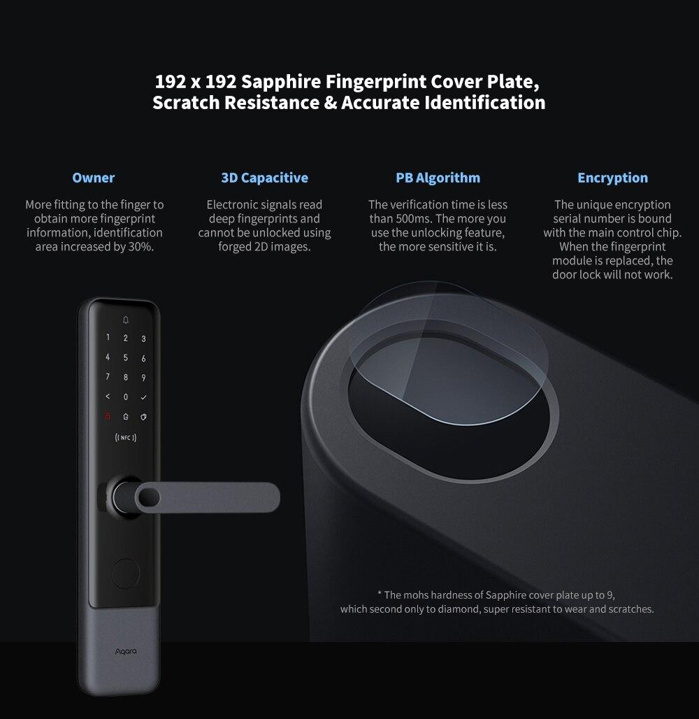 Aqara N200 Smart Door Lock Fingerprint Bluetooth Password NFC Unlock Works With Mijia Apple HomeKit Smart Linkage With Doorbell