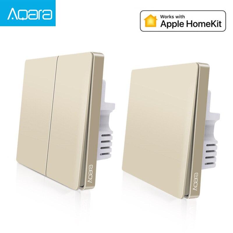 2019 nouvelle mise à niveau originale Aqara interrupteur mural lumière intelligente ZigBee commutateurs télécommande Version or pour apple homekit