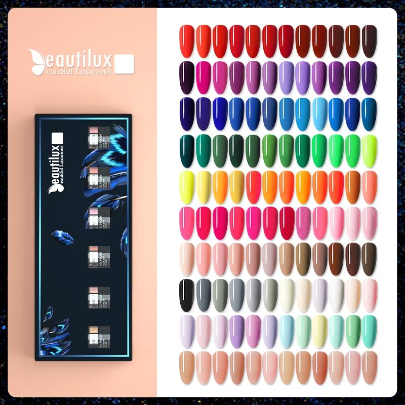 Beautilux Nail Gel Polish Kit 6pcs/set x10ml Soak Off UV LED Nails Varnish Set Semi Permanent Nail Art Gels Lacquer Gift Box DIY
