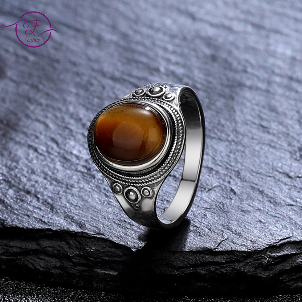 925 Sterling Silver Rings Natural 8*10MM Tiger's Eye Stone Party Fine Jewelry Gifts Rhodochrosite St
