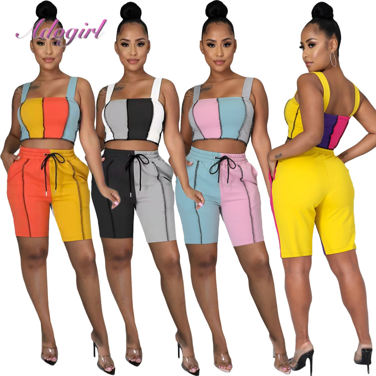 2019 women summer patchwork tank tee top skinny pencil pants suit 2pcs set sporting tracksuit active wear outfit 3 color m6161 Workout Summer Tracksuit Women Causal Stripe Color Patchwork Sleeveless Tank Tops Shorts Pants Suit Outfit Jogger Two Piece Sets