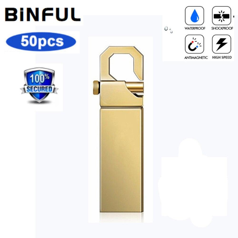 BiNFUL 50pcs Pen drive Metal waterproof pendrive 4G 8G 16GB Usb Flash Drive USB 2.0 32GB 128MB 1GB 2GB usb stick Commercial LOGO