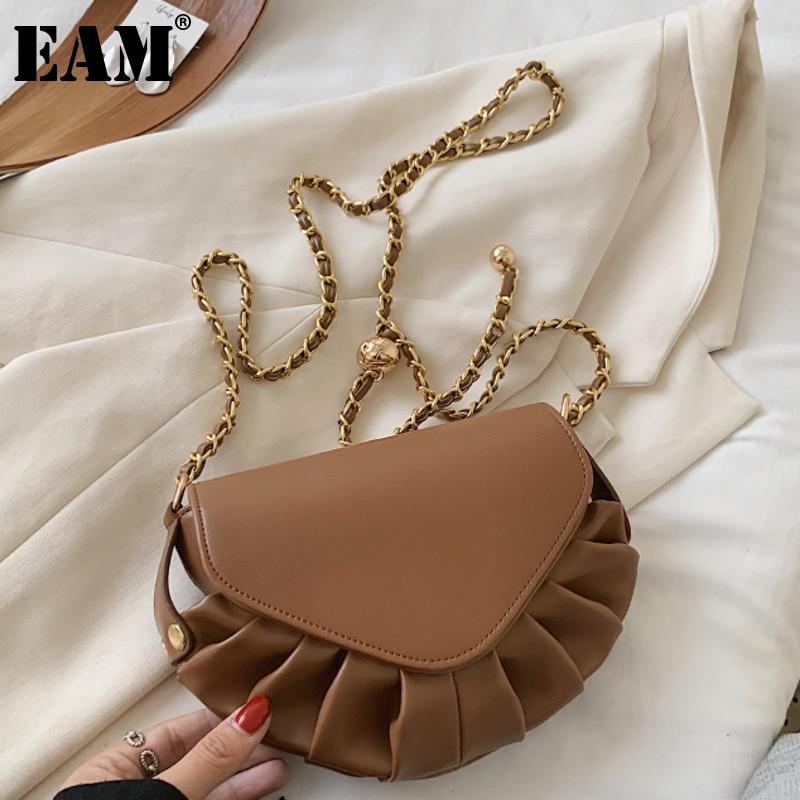 [EAM] Folds Small PU Leather Dumpling Bags For Women 2021 Elegant Shoulder Handbags Female Travel Totes Lady Crossbody Bag HN652
