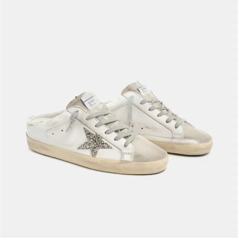 2021 Autumn New First Layer Cowhide Distressed Small Dirty Children's Shoes  Half Drag One Pedal Parent-child Casual Shoes QZ32 enlarge