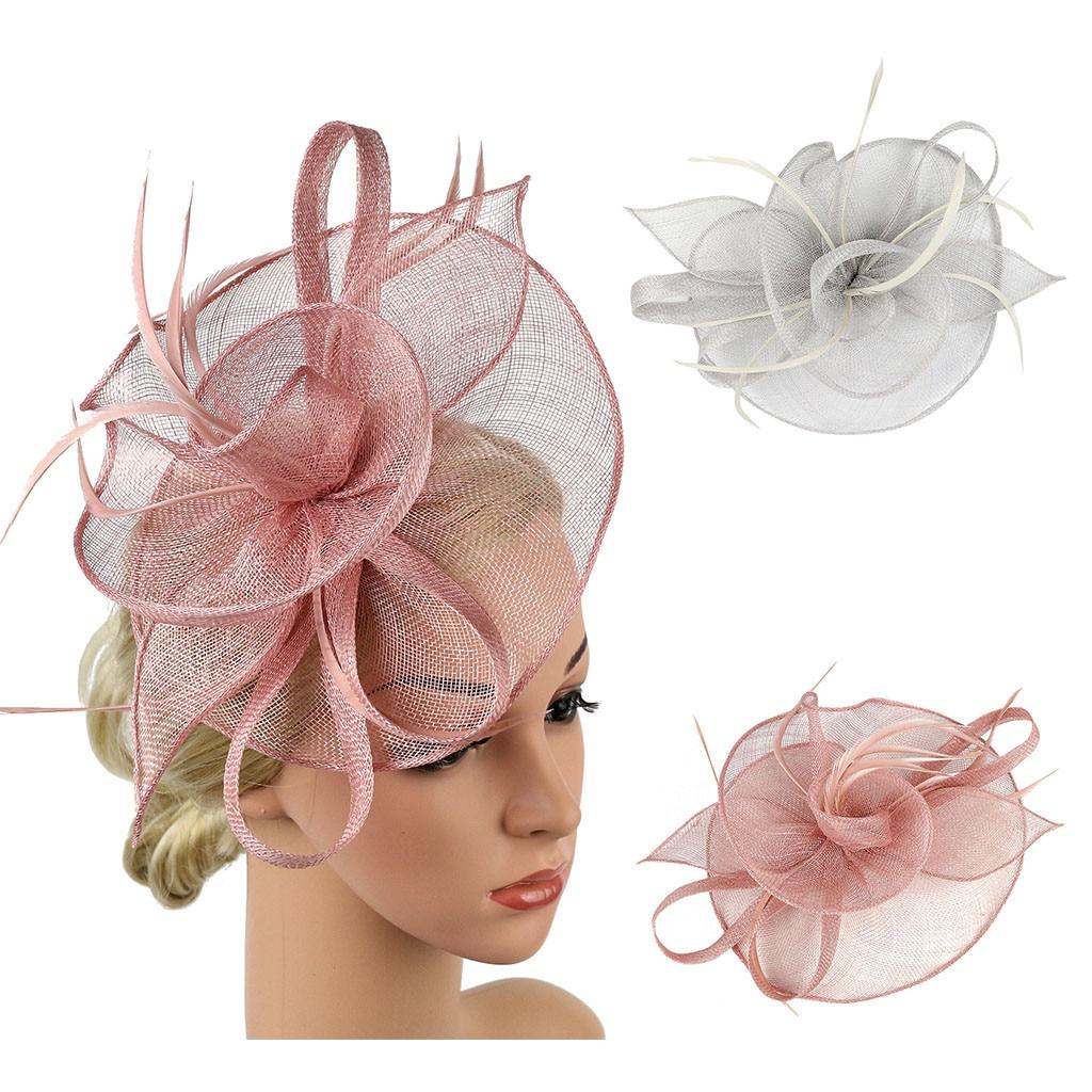 Feminino flor malha headwear menina cabelo hoop fascinator chapéu imitação sinamay pena chá festa pillbox meninas acessórios para o cabelo