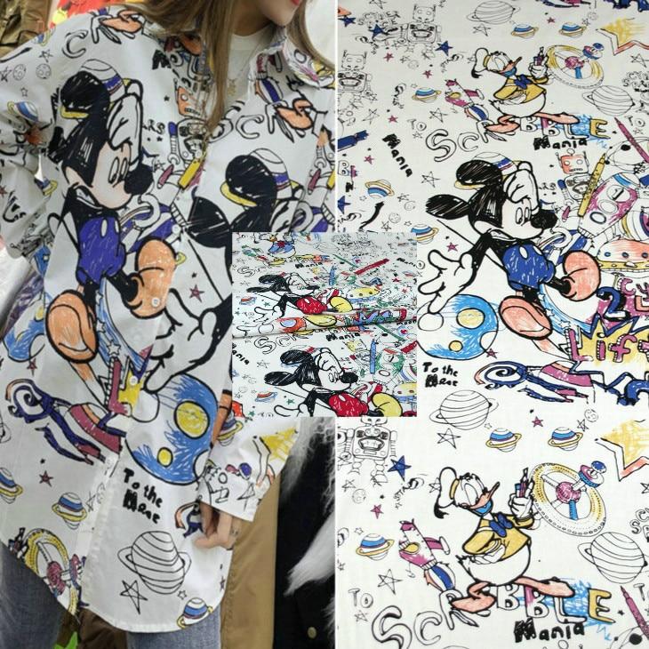 Tela de algodón con estampado de Mickey, 145 cm de ancho, tela de vestido Camisa estampada hecha a mano DIY, venta al por mayor de tela de algodón