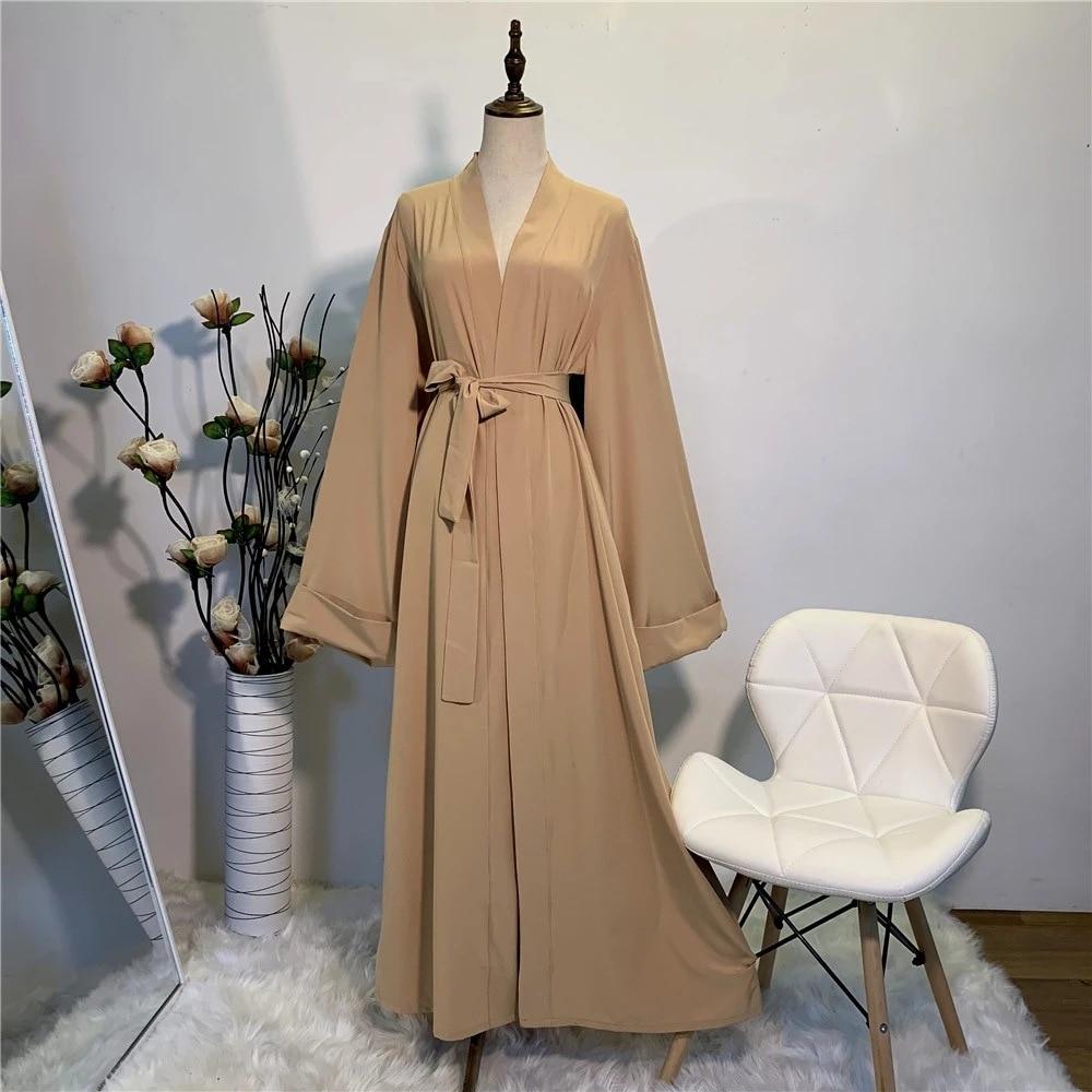 Vestido musulmán Simple, suave y sedoso, elegante, color puro, largo, modesto, F2078