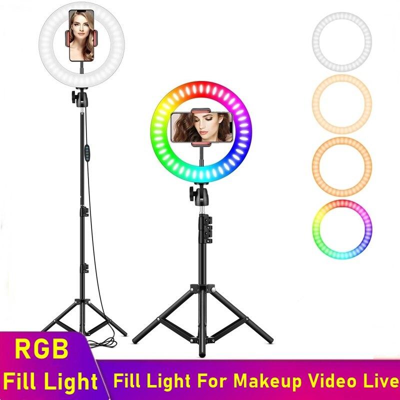 Anillo De Luz Led RGB Universal Para Selfie, lámpara RGB regulable Para fotografía con trípode Para maquillaje, Video, Aro De Luz Para móvil