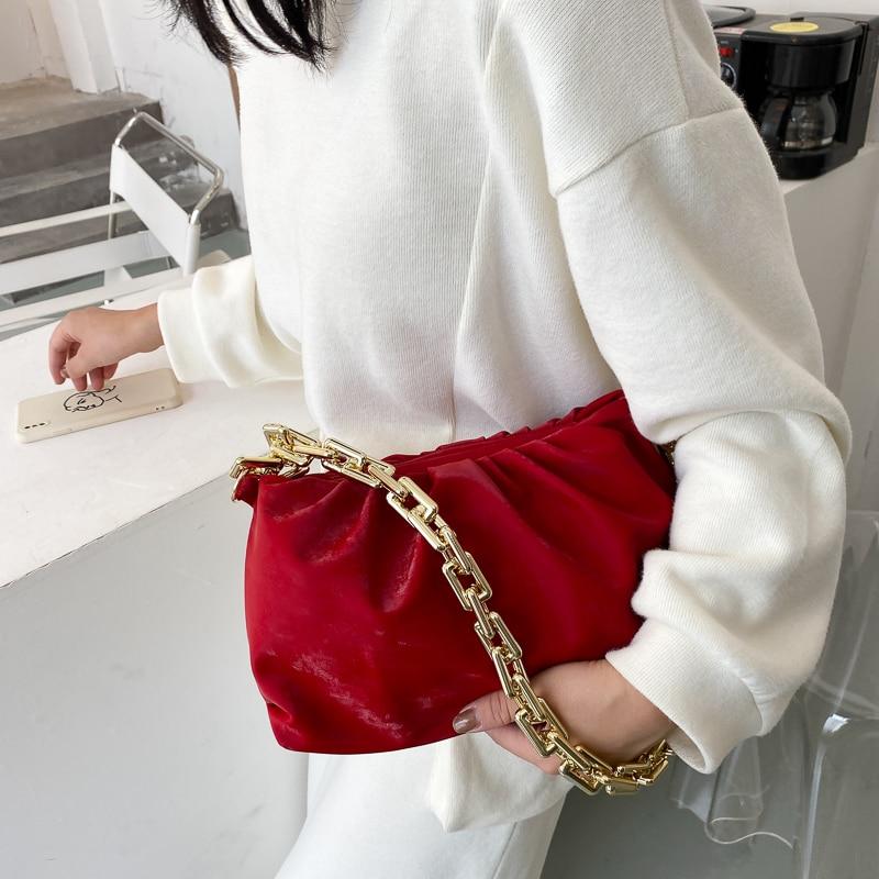 Chain Shoulder Bag Luxury Handbag Women Bags Designer 2020 Velvet Clutch Bag Retro Cloud Pouch Handbag Purse Women Totes Bolso