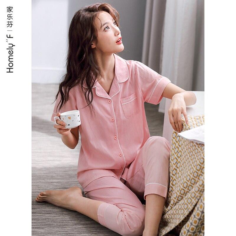 Пижама-для-женщин-летняя-детская-одежда-с-коротким-рукавом-Брюки-домашняя-одежда-летние-тонкие-tencel-из-полушелковой-ткани-хлопчатобумажной