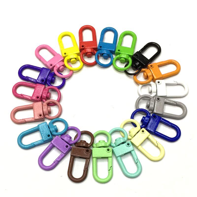10 unids/pack colorido bolso de mano de metal bolso hebilla de langosta llavero DIY accesorios gato perro ganchos hebillas cadena