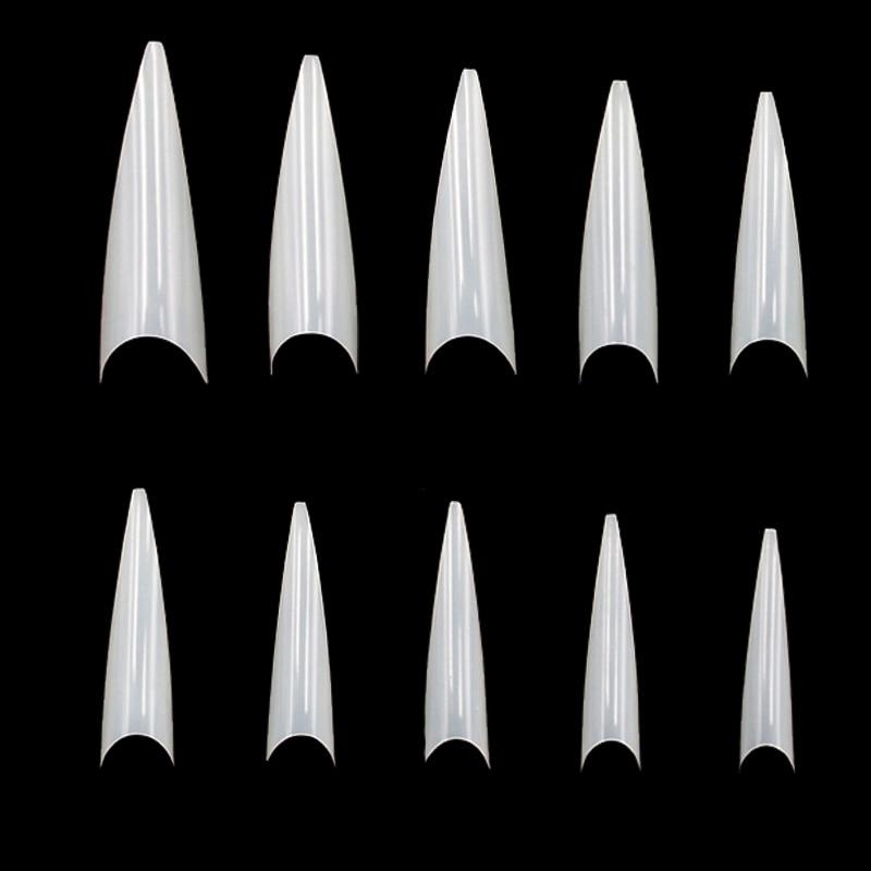 500 PCS 10 Sizes Nail Art Tips Stiletto Pointy Full Cover False Nail Natural Style Acrylic UV Gel Fake Nail Salon French Acrylic