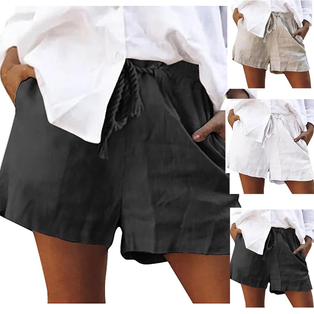 Pantalones cortos de lino para mujer, pantalones cortos informales lisos con cordones, cortos elásticos e informales de verano para mujer