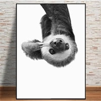 canvas paintings sloth animal modern black and white cute kids room decoration posters hd print wall art picture for living room
