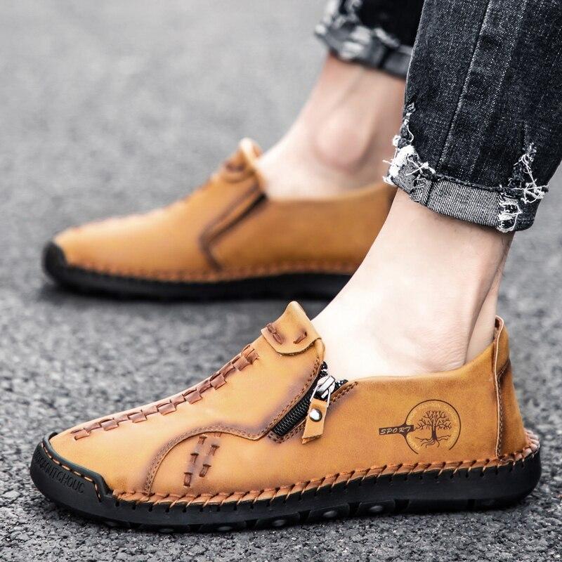 الرجال حذاء كاجوال جلد موضة الرجال اليدوية تنفس رجل أحذية قيادة خفيفة الوزن رجالي المتسكعون الأخفاف حجم كبير 38-48