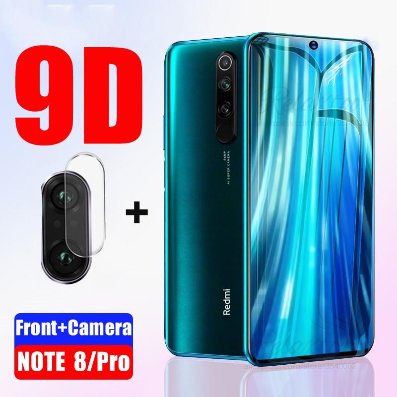 2 en 1 para Redmi Note 8 vidrio templado para Xiaomi Redmi Note 8 Pro 8pro Protector de pantalla completa película protectora de lente de cámara