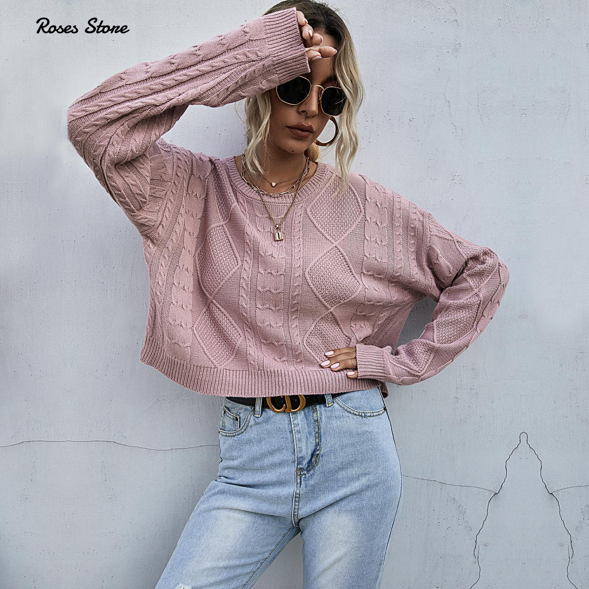 Женский вязаный свитер с круглым вырезом и длинным рукавом розовый короткий