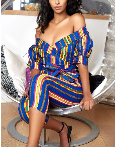 African Digital print evening suit with lantern sleeve and bare shoulders jumpsuit with casual waist mod jumpsuit  - buy with discount