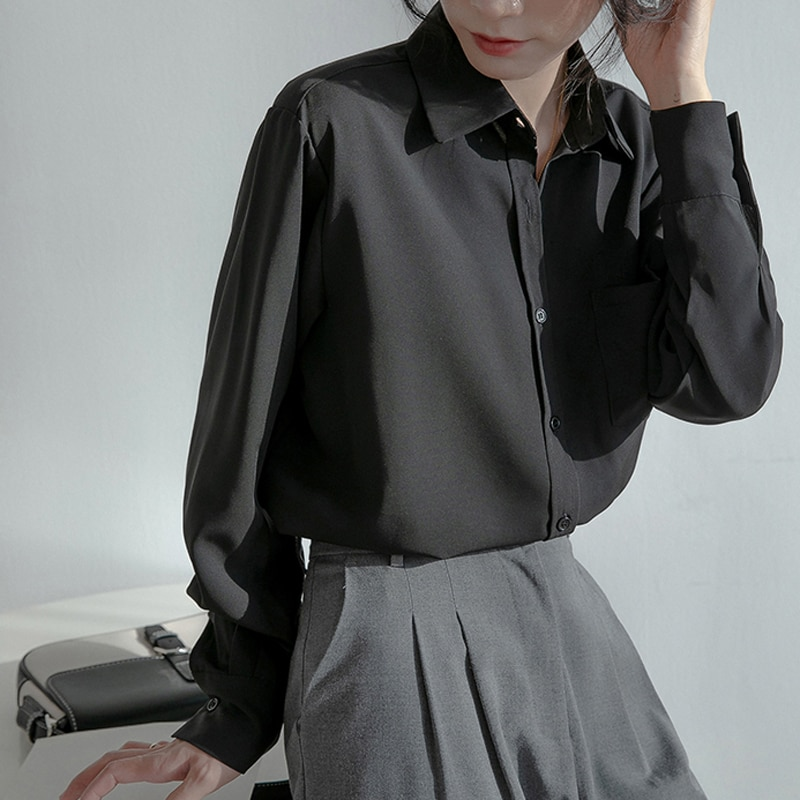 H61a13afd732945e6907724e044d8bf93T - Spring / Autumn Turn-Down Collar Long Sleeves Solid Pocket Blouse