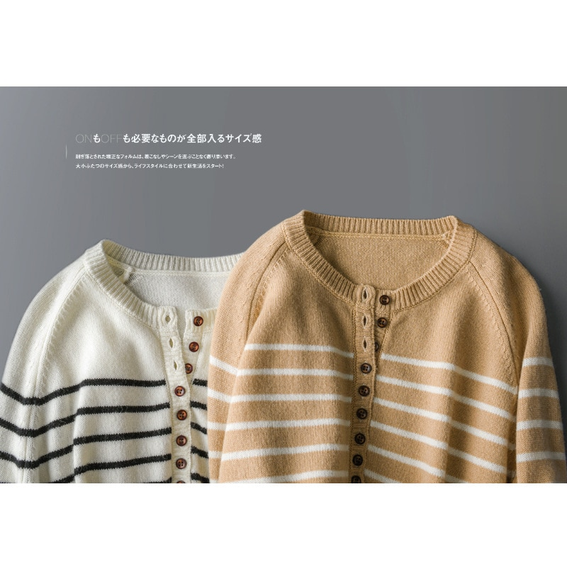 SHUCHAN Loose Sweater Women Casual Button Up Striped  Fashion Pullover Autumn Winter Keep Warm Full Sleeve enlarge
