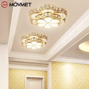 Fashion Flower Crystal LED Aisle Ceiling Chandelier Lamps Gold Plafonnier For Corridor Lustre Corridor Balcony Entrance lighting