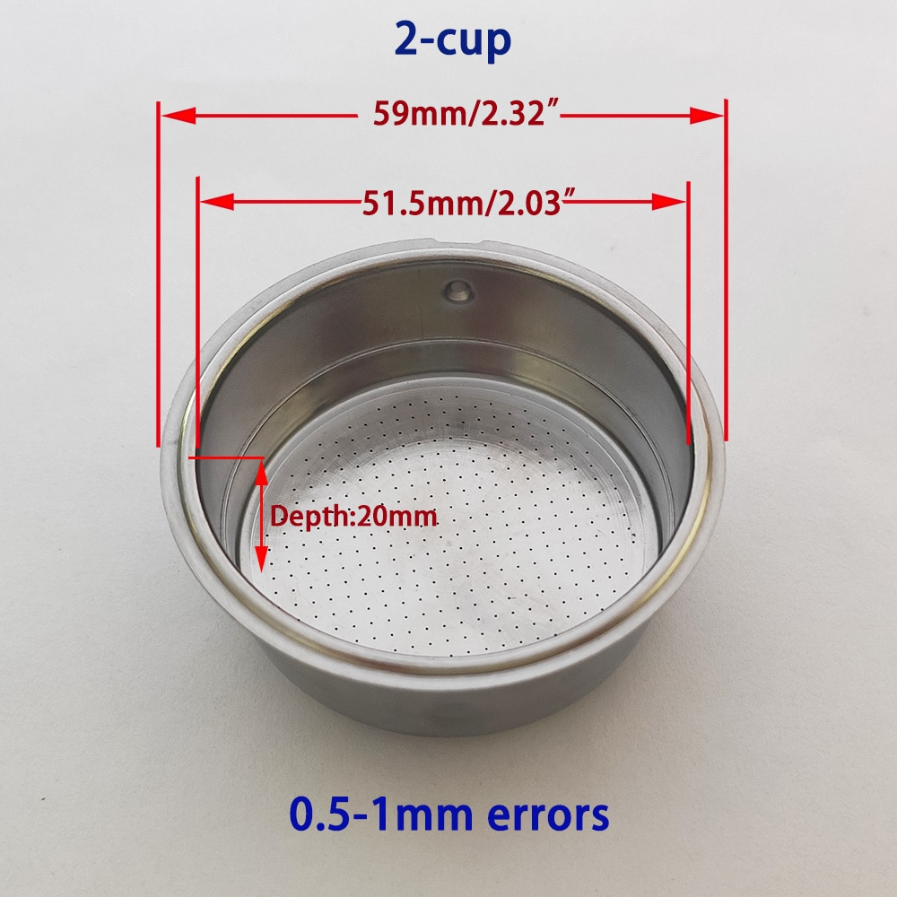 Фильтр-корзина для кофемашины с двойной чашкой 51 мм, детали для бытовой кофеварки, 2 чашки без давления