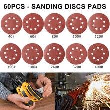 60 pièces 5 pouces 125mm papier de verre rond huit trous disque feuilles de sable grain 40-400 crochet et boucle disque de ponçage vernis