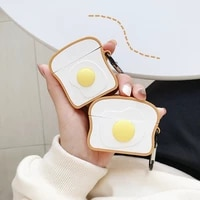 for airpods 1 2 pro case cartoon egg toast headphone cover 3d brunch for air pods 3 earphone case protect wireless headset cover
